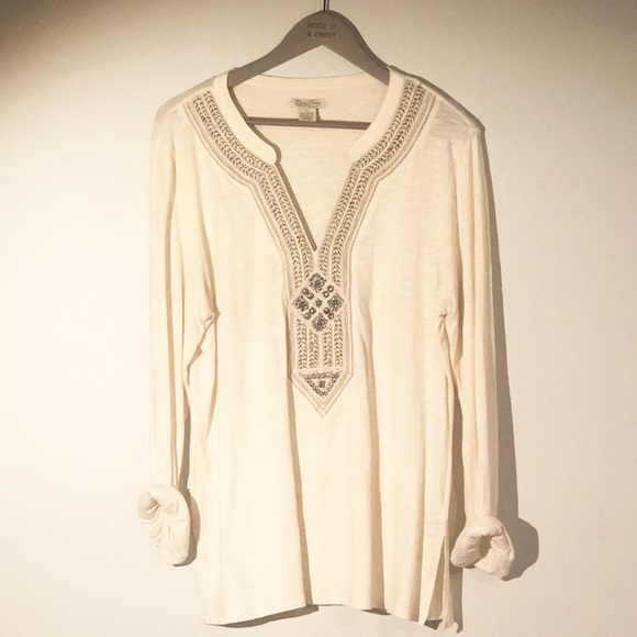 Lucky Brand Tops - Lucky Brand Long Sleeve Embellished Top Size XL